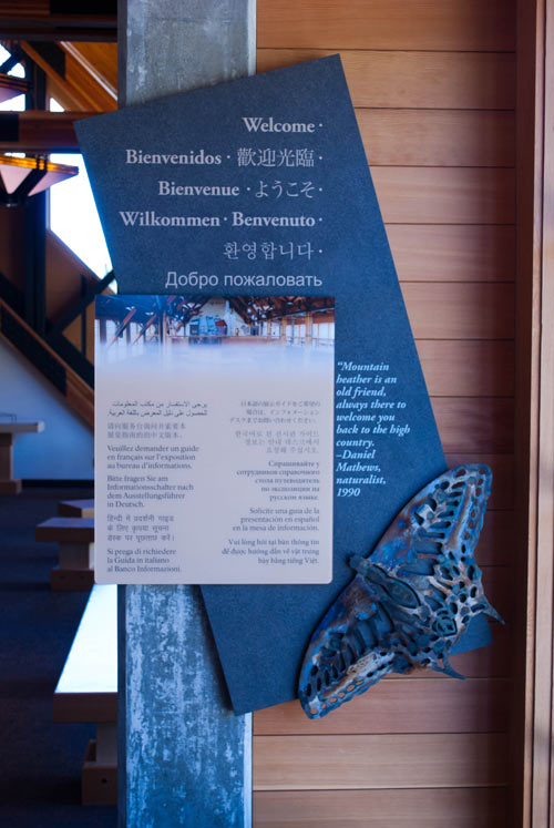 Photo of a welcome sign in many languages.